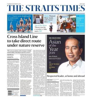 Presiden Jokowi Terpilih Sebagai 'Asian of the Year 2019' di Surat Kabar The Straits Times Singapura 113