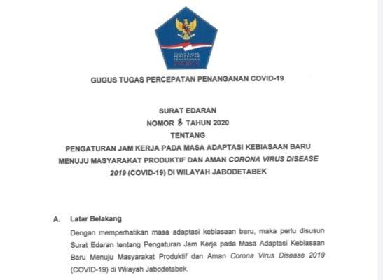 Gugus Tugas Terbitkan SE Aturan Jam Kerja Wilayah Jabodetabek Aman Covid-19 dan Produktif 101
