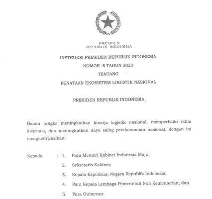 Presiden Jokowi Teken Inpres Penataan Ekosistem Logistik Nasional 113