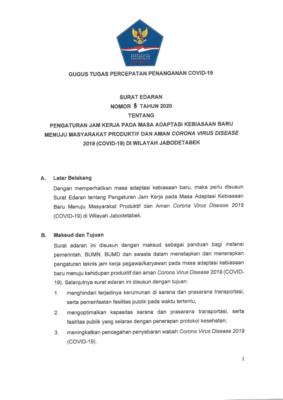 Gugus Tugas Terbitkan SE Aturan Jam Kerja Wilayah Jabodetabek Aman Covid-19 dan Produktif 102