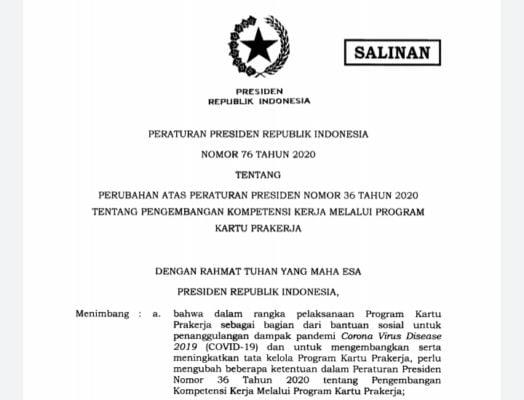 Tingkatkan Tata Kelola Progam Kartu Prakerja, Presiden Teken Perpres 76 Tahun 2020 113