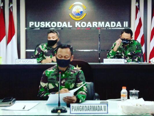 Pangkoarmada II, Ikuti Evaluasi Pendisiplinan Protokol Kesehatan Serta Tindak Lanjut Inpres No. 6 Tahun 2020 Pimpinan Panglima TNI 109