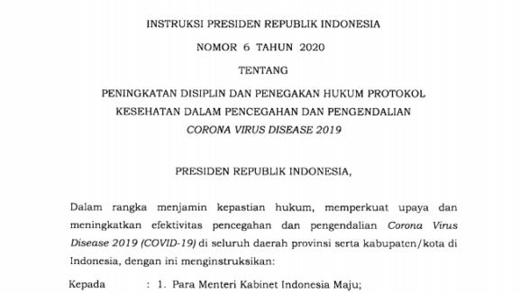 Presiden Teken Inpres Peningkatan Disiplin dan Penegakan Hukum Protokol Kesehatan Covid-19