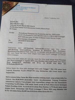 Tanah dan Bangunan PT SGL Bermasalah, Ahli Waris Minta Gubernur Anies Baswedan Cabut IMB Pondasi 114