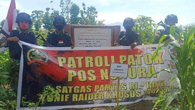 Patroli Patok Batas Negara, TNI Temukan Patok Hilang Akibat Terbawa Luapan Arus Sungai 114