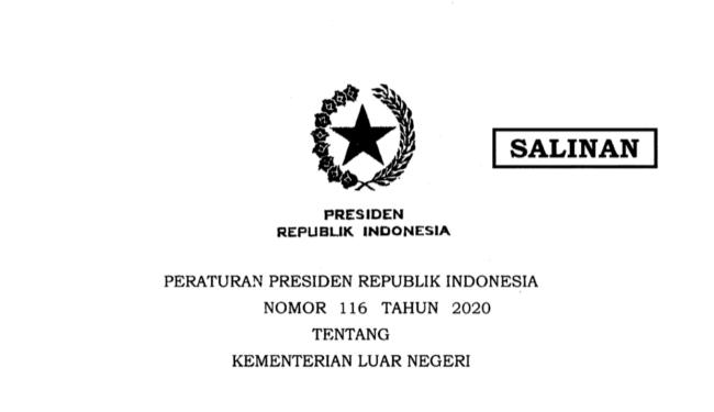 Inilah Perpres Nomor 116 Tahun 2020 tentang Kementerian Luar Negeri 111