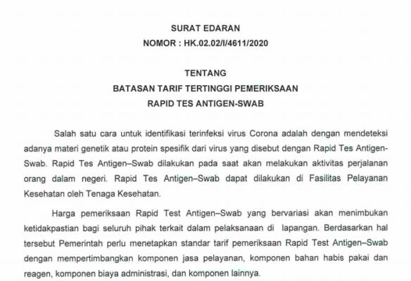Pemerintah Tetapkan Batasan Tarif Pemeriksaan Rapid Test Antigen-Swab 113