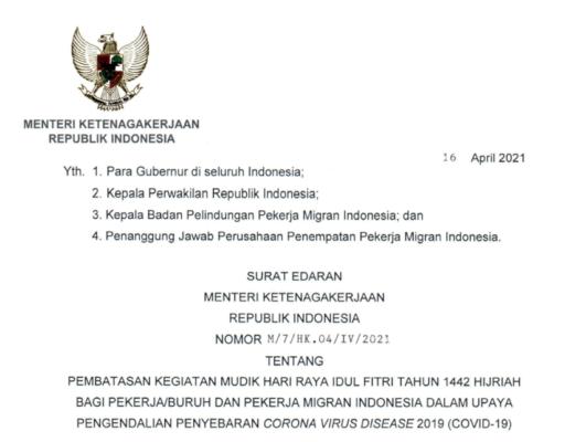 Menaker Terbitkan Edaran Pembatasan Mudik Bagi Pekerja dan PMI 113