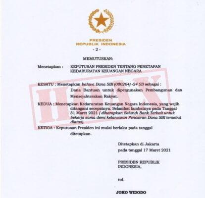 Kemensetneg : Pemerintah Tidak Pernah Terbitkan Keppres Penetapan Kedaruratan Keuangan Negara 113