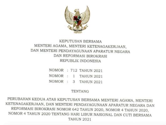 Inilah Perubahan Hari Libur Nasional dan Cuti Bersama Tahun 2021 113