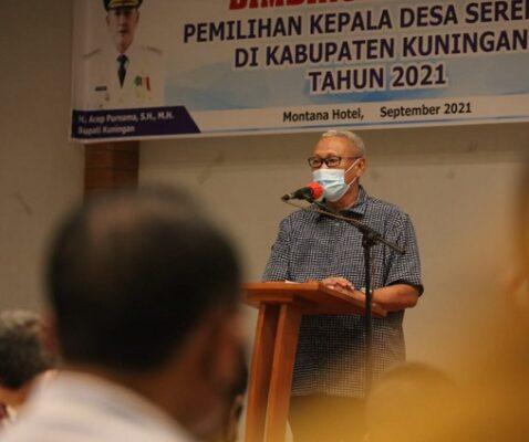 Bupati Kuningan Membuka Kegiatan Bimbingan Teknis Panita Kepala Desa serentak 2021 113